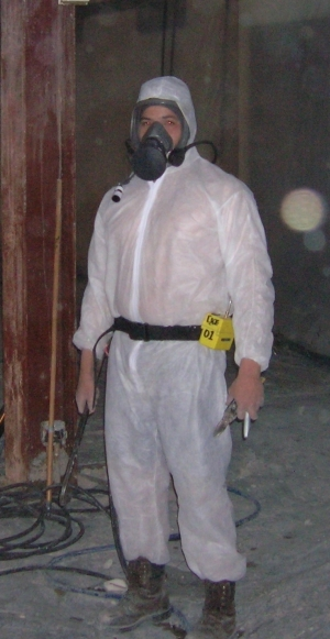 Suited up for asbestos abatement project